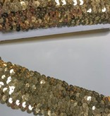 2,80€ p/m - Goud 5cm Breed - Paillettenband Elastisch