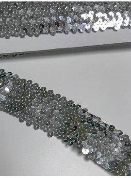 2,80€ p/m - Zilver 5cm Breed - Paillettenband Elastisch