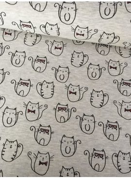 Poppy 10,00€ p/m - Funny Cats Ecru - Joggingstof