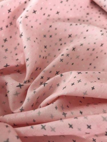 Poppy 6,50€ p/m - Kruisjes Roze Grijs Wit - Bedrukte Katoen
