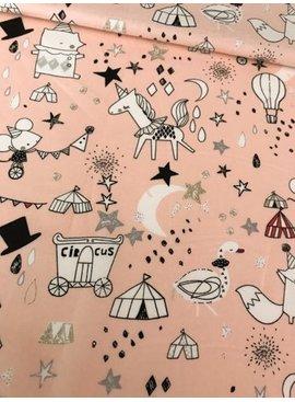 Poppy 4€ p/m - Circus Star Glitter Roze - Bedrukte Katoen