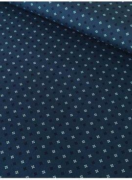 9€ p/m - Blauw Wit Klein Motief Retro - Bedrukte Katoen