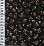 10,50€ p/m - Zwart Kleine Rozen - Bedrukte Viscose Tricot