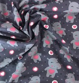 11,50€ p/m - Grijs Nijlpaard Hartjes - Bedrukte Tricot