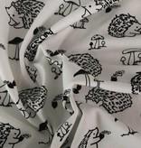 5€ p/m - Wit Zwart Egeltjes - Bedrukte Tricot