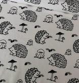 11,50€ p/m - Wit Zwart Egeltjes - Bedrukte Tricot