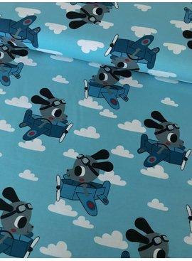 11,50€ p/m - Blauw Hond Vliegtuig - Bedrukte Tricot