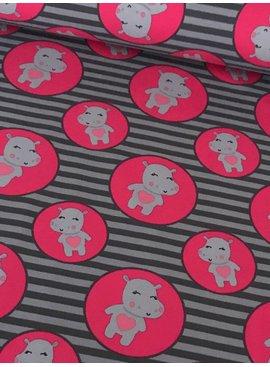 5€ p/m - Roze Nijlpaard Strepen - Bedrukte Tricot