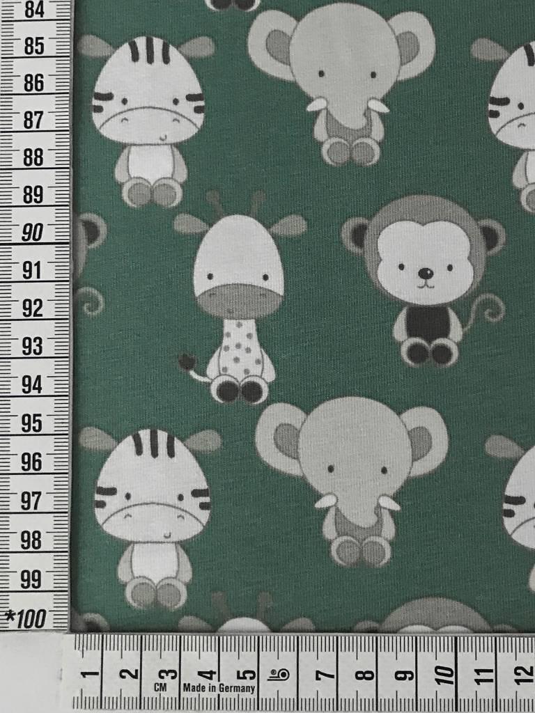 11,50€ p/m - Oudgroen Baby Safari - Bedrukte Tricot