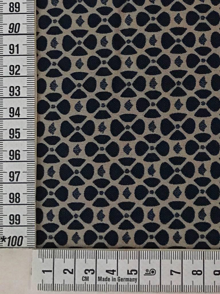 10,50€ p/m - Retro Tegels Marine Beige - Elastisch Katoen
