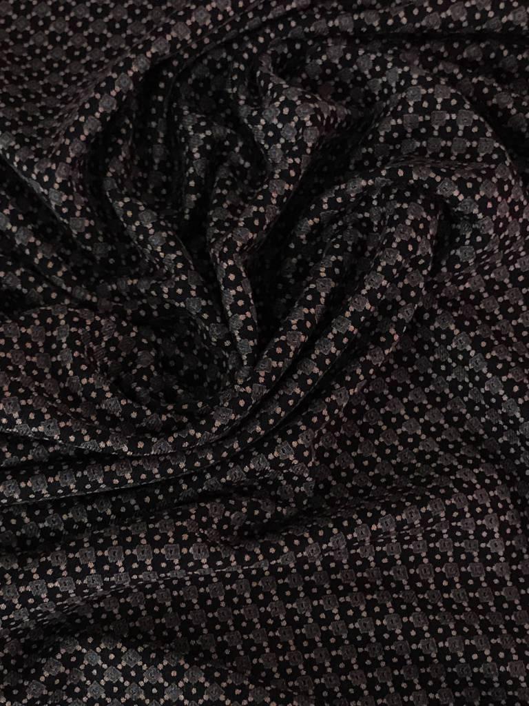 10,50€ p/m - Bruin Roze Retro Motief - Viscose Tricot