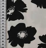 7€ p/m - Zwart Wit Bloemen - Elastisch Katoen