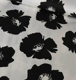 14,50€ p/m - Zwart Wit Bloemen - Elastisch Katoen