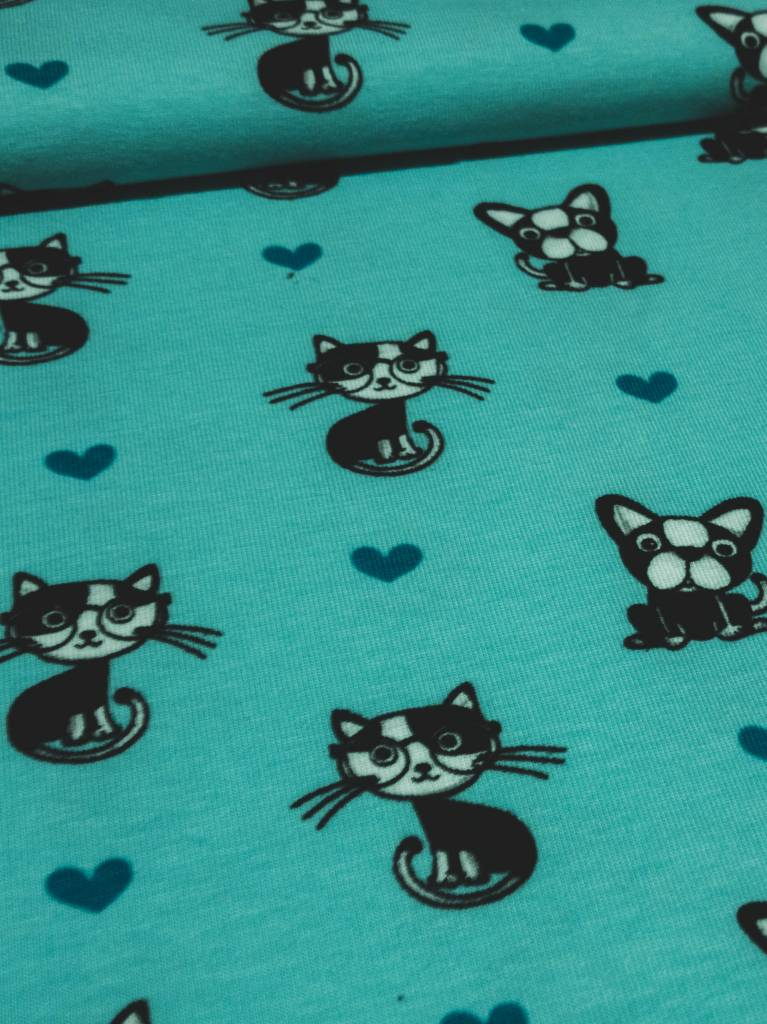 12€ Per Meter - I love Cats and Dogs - Bedrukte tricot