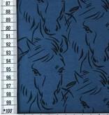 14€ p/m - Paarden Blauw - Bedrukte Tricot