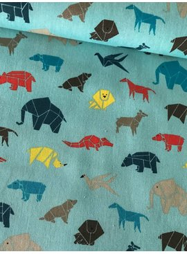 Poppy 4,50€ p/m - Origami Animals Munt Blauw - Bedrukte Katoen