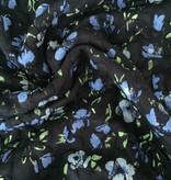 7€ p/m - Blauwe Bloem Op Zwart Structuur - Punta Di Roma