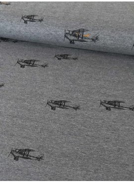 Mies en Moos 0,55m x 150cm - Vliegtuig op Grijs - Joggingstof
