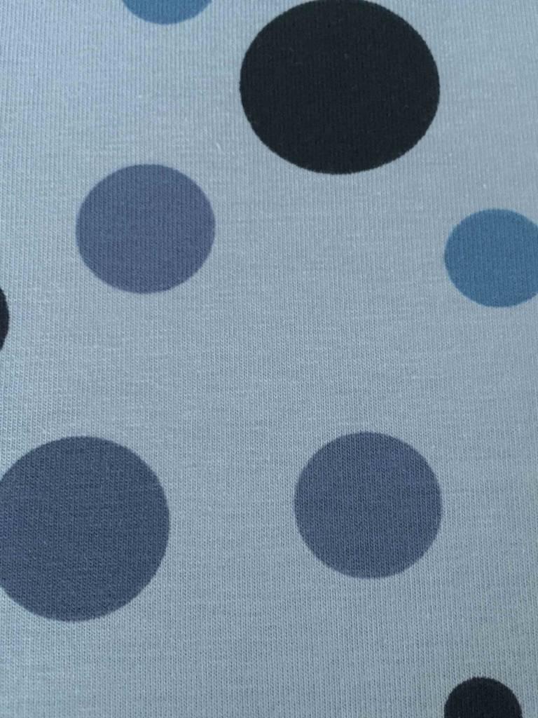 11,50€ p/m - Lichtblauw met Cirkels - Bedrukte Tricot