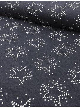 1,30m x 150cm - Stars Antraciet Melange Doorstikt - Sweaterstof