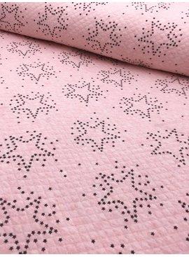 14€ p/m - Stars Roze Melange Doorstikt - Sweaterstof