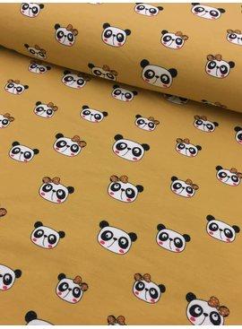 11€ p/m - Cute Panda Oker Geel - Bedrukte Tricot