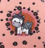 5€ p/m - Cute Unicorn op Zalmroze - Bedrukte Tricot