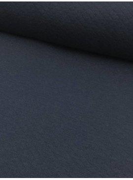 12€ p/m - Wafel Doorstikt Marine - Sweaterstof