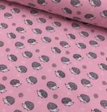 5€ p/m - Egeltjes Op Roze - Bedrukte Tricot
