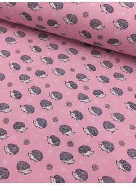 11€ p/m - Egeltjes Op Roze - Bedrukte Tricot