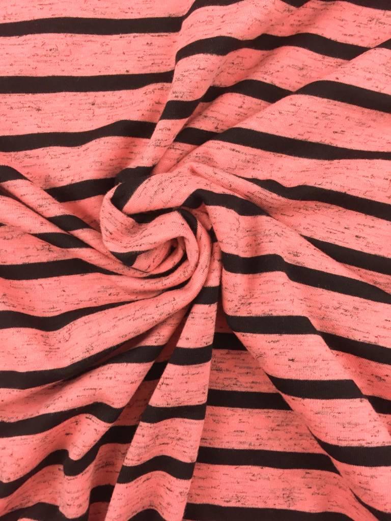 0,6m x 150cm -  Strepen Oranje Roze - Bedrukte Tricot