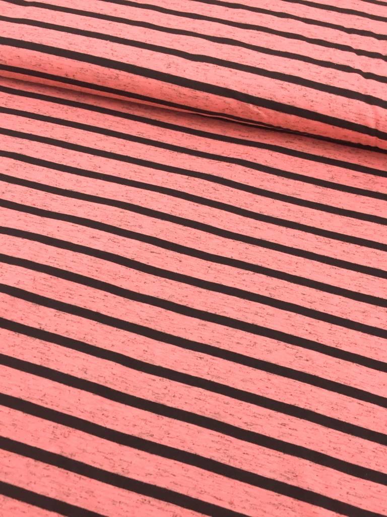 11€ p/m -  Strepen Oranje Roze - Bedrukte Tricot