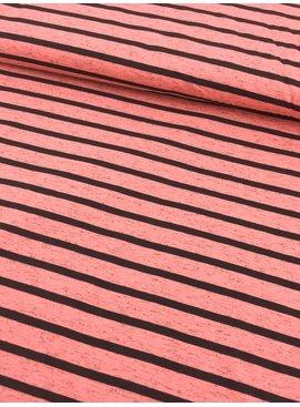 5€ p/m -  Strepen Oranje Roze - Bedrukte Tricot