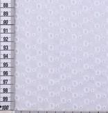 14,50€ p/m - Geborduurd Witte Cirkeltjes Border - Katoen