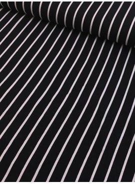 0,8m x 150cm - Zwart Wit Gestreept Verticaal - Viscose Tricot
