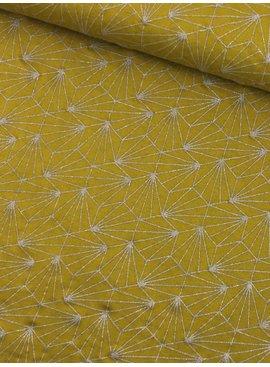 Mies en Moos 0,75m x 150cm - Glitter Lijnen op Oker - Bedrukte tricot