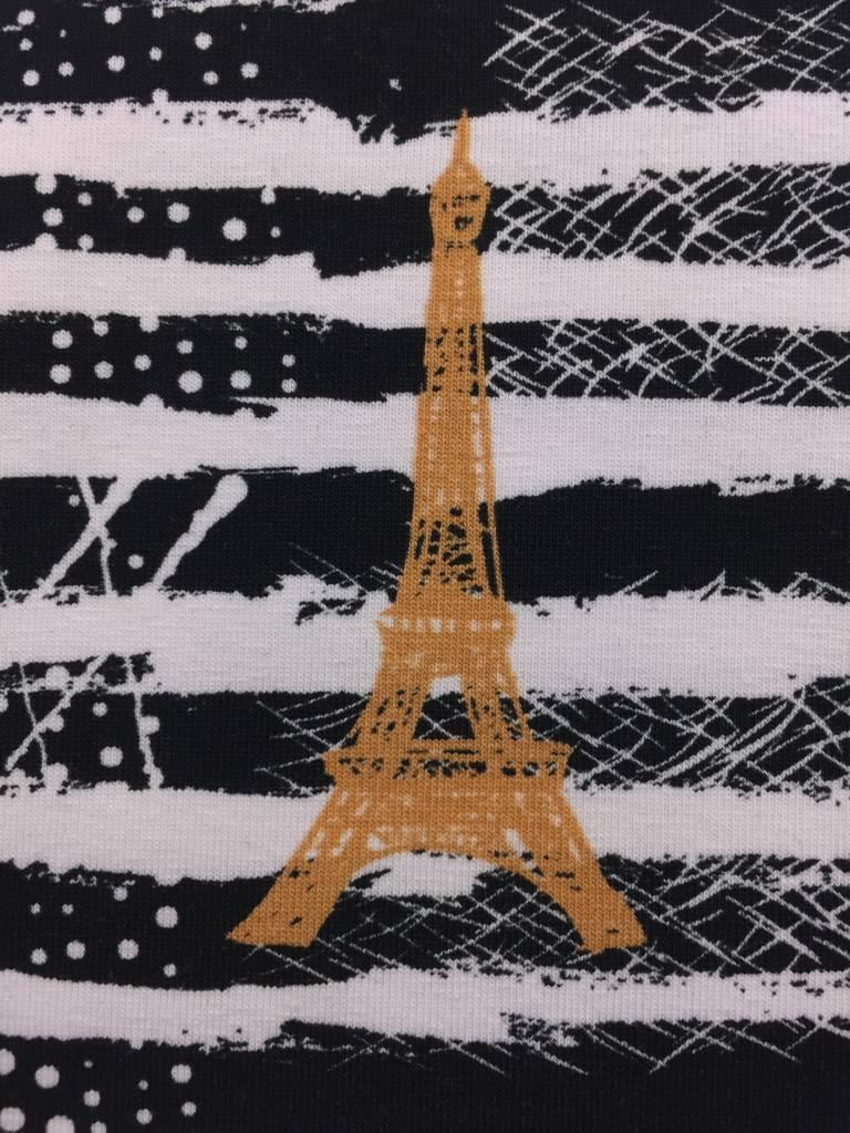 12,50€ p/m - Zwart Wit Gestreept Eiffeltoren - Bedrukte Tricot