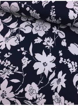 11€ p/m - Witte Bloemen op Marine - Elastisch Katoen