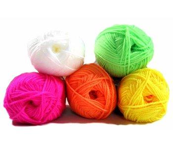 Fluor kleurige wol set 5 stuks