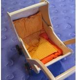 Dekje houten poppenwagen