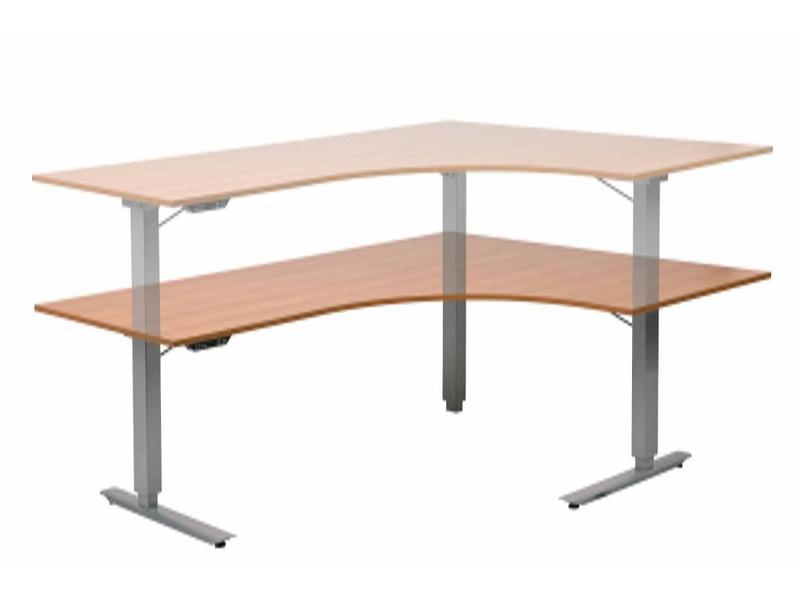 Atelier Michel Koene Easydesk hoog/laag hoektafel met blad   200 x 160 x 80, slag 65cm