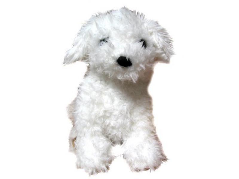 Handpop witte hond Westie   35cm