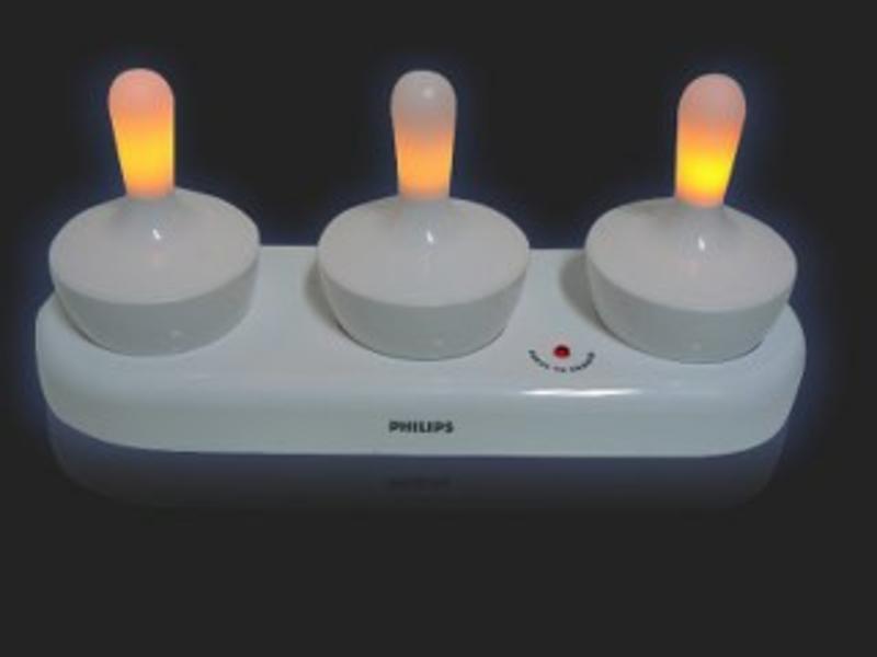 Aqualight drijflampjes met oplaad-station   3st. 25 x 9 x 12cm