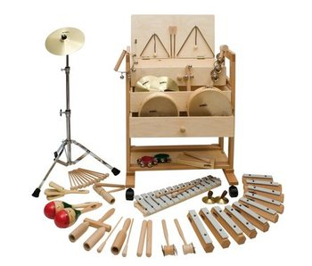 Muziekwagen 2- incl 23 houten instrumenten