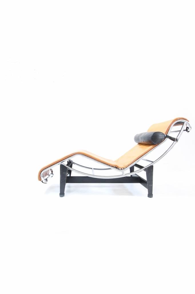 Cassina Originele vintage Corbusier Chaise Longue in bruin leder