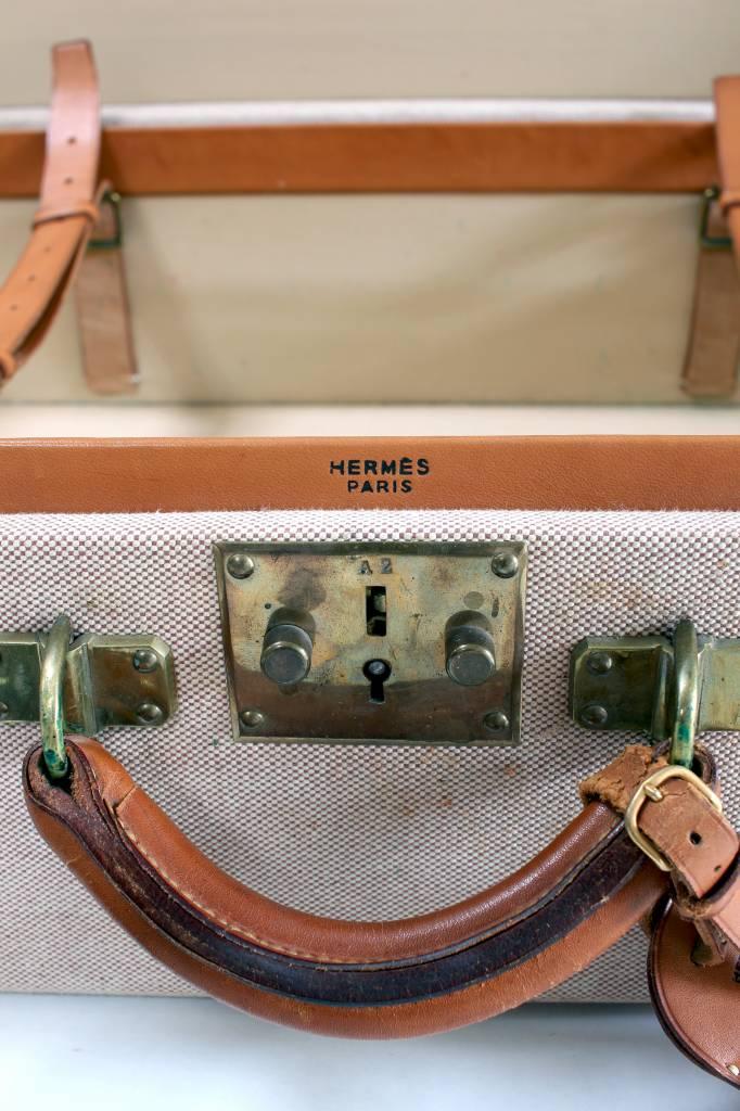 Hermés Vintage Hermès koffer in canvas