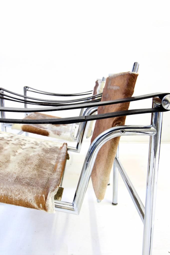 Vintage set bijzet stoelen van Corbusier