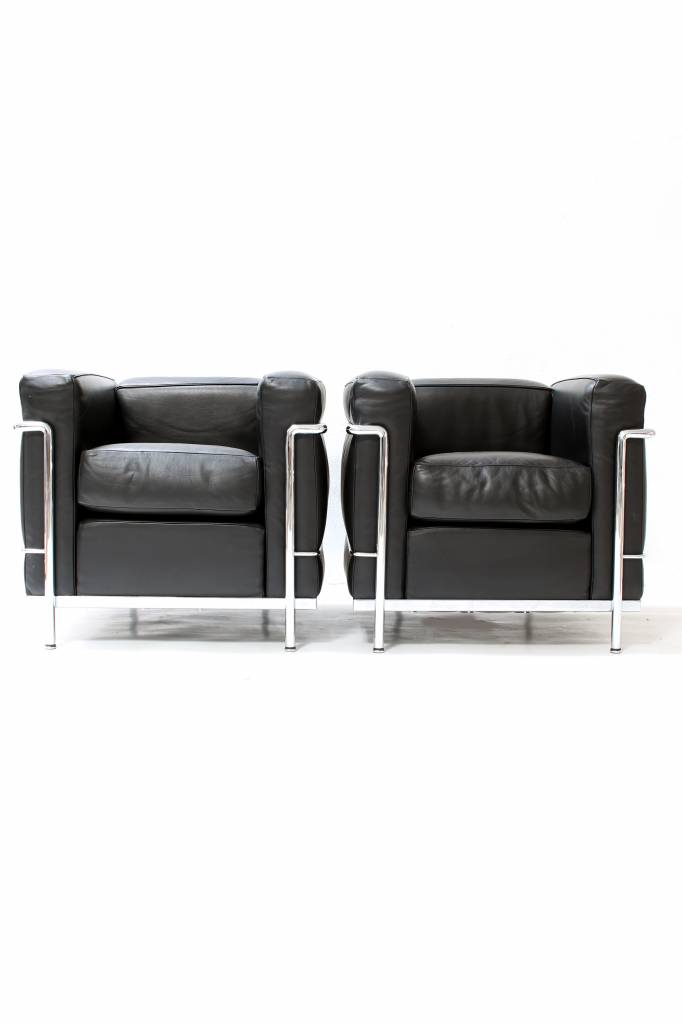 Couple black Le Corbusier LC2 1seat