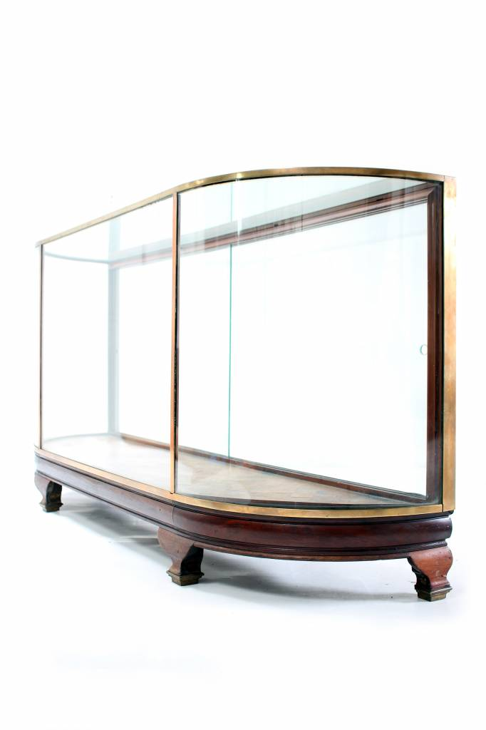 Antique display case finished with solid oak and copper