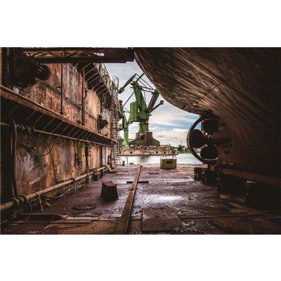 Glazen wanddecoratie industriële scheepswerf